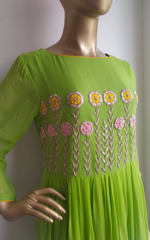 Buy Green Yellow Shaded Floral Handwork Dress Online at LabelKanupriya.