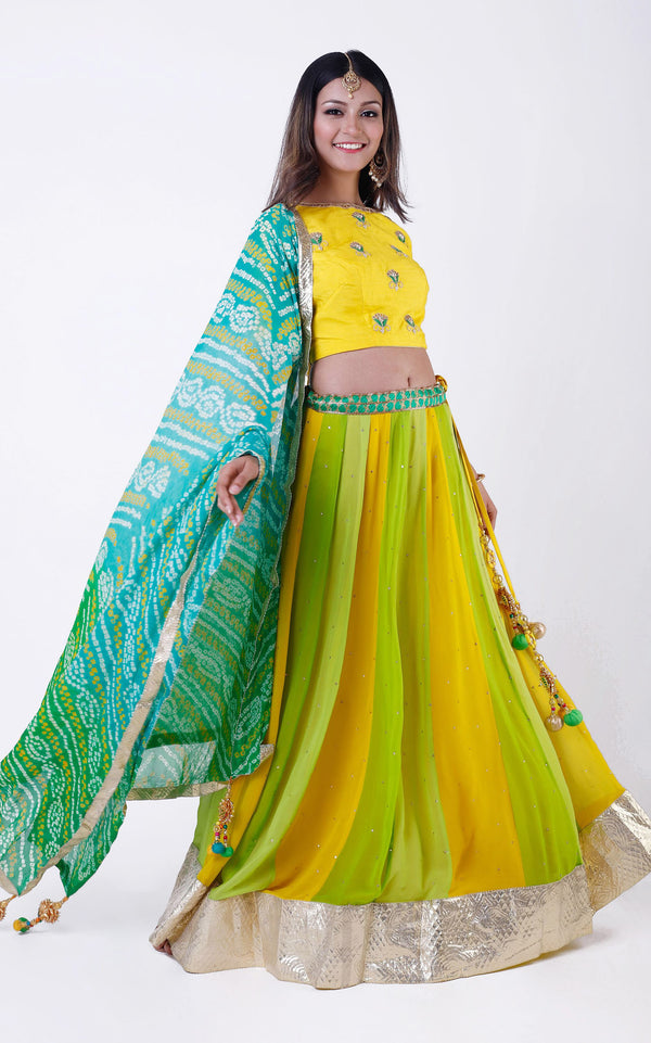 Buy Green Pure Georgette Bandhej Dupatta Online at LabelKanupriya.
