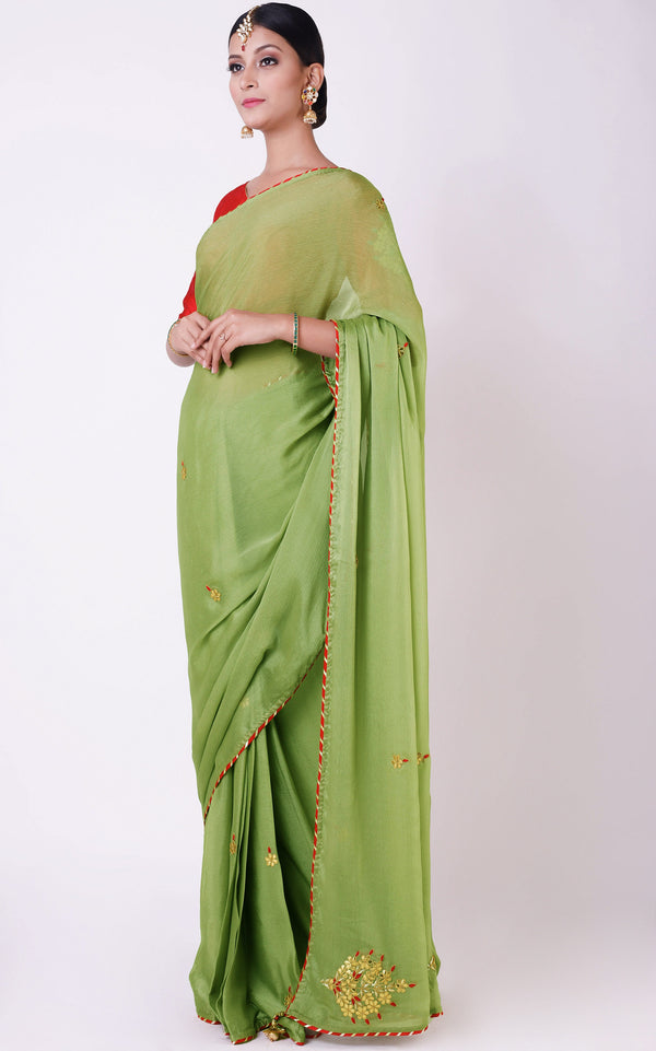 Buy Sage Green Gota Patti Saree Online at LabelKanupriya.