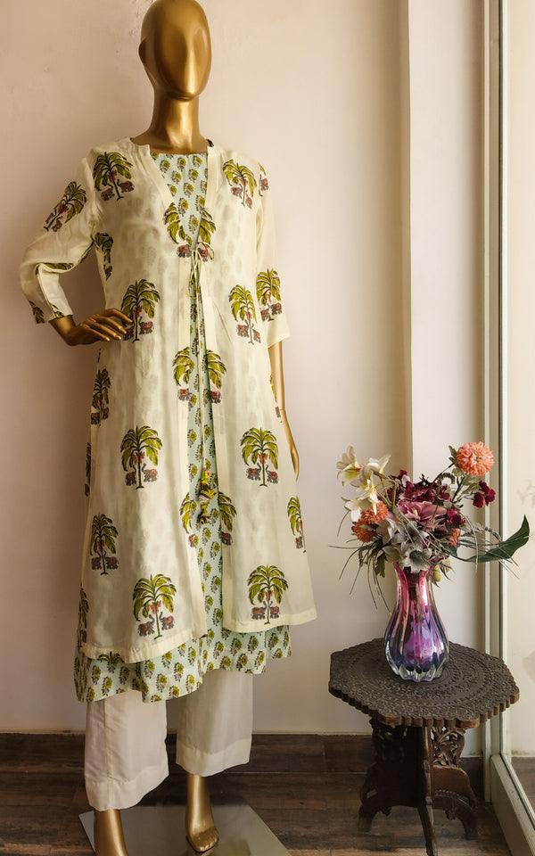 Buy Elephant Blockprint Double Layer Kurta and Pant Set Online at LabelKanupriya.