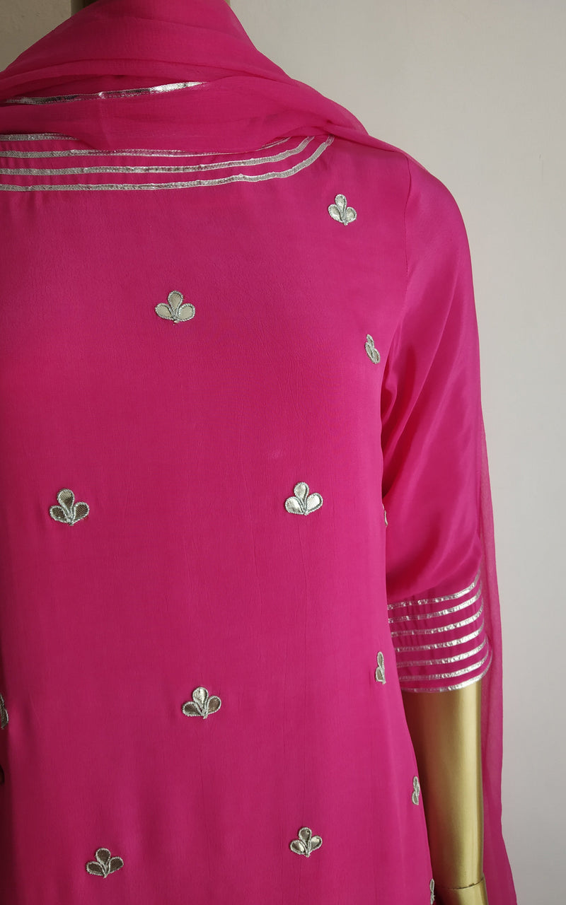 Buy Hot Pink Gota Patti Sharara Set Online at LabelKanupriya.