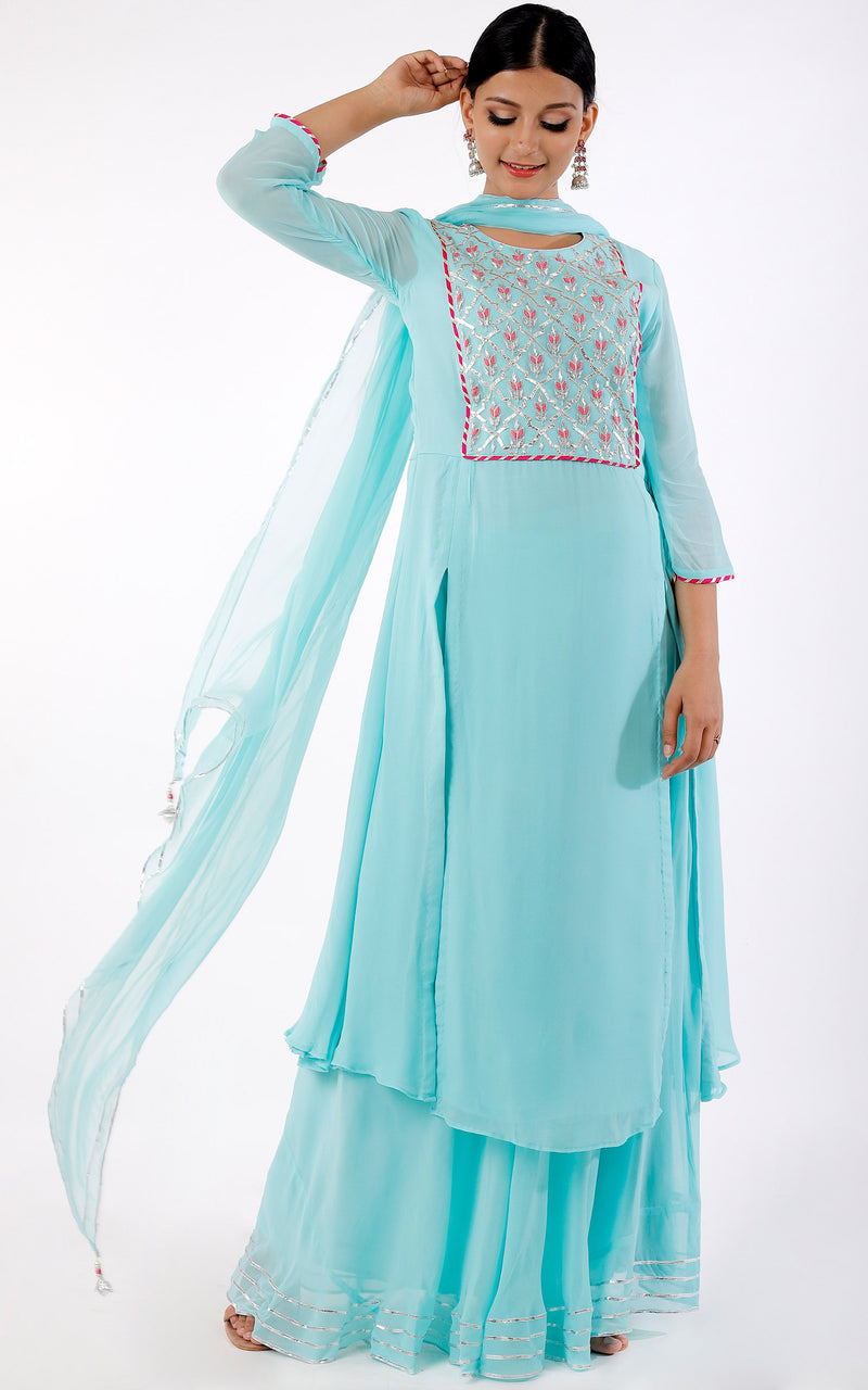 Buy Sea Blue Handwork Kurta and Skirt Set Online at LabelKanupriya.
