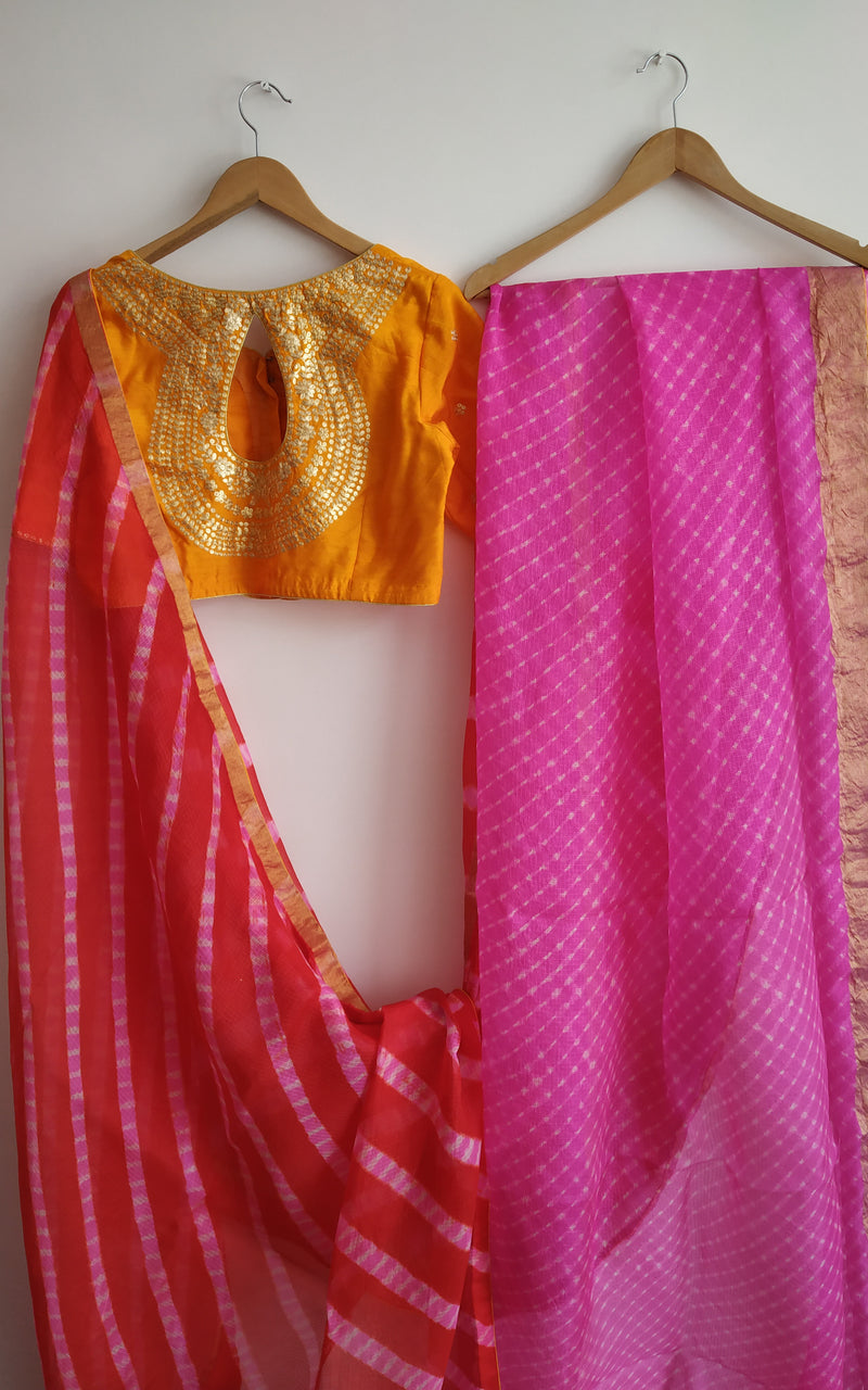 Buy Half-half Leheriya Saree with Pittan-work Blouse Online at LabelKanupriya.