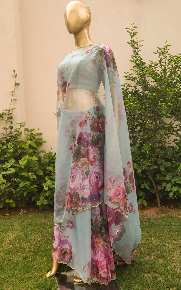 Buy Sky Blue Floral Organza Saree Online at LabelKanupriya.