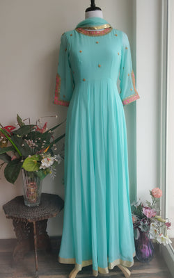 Buy Mint Blue 'Marodi' work Anarkali Online at LabelKanupriya.
