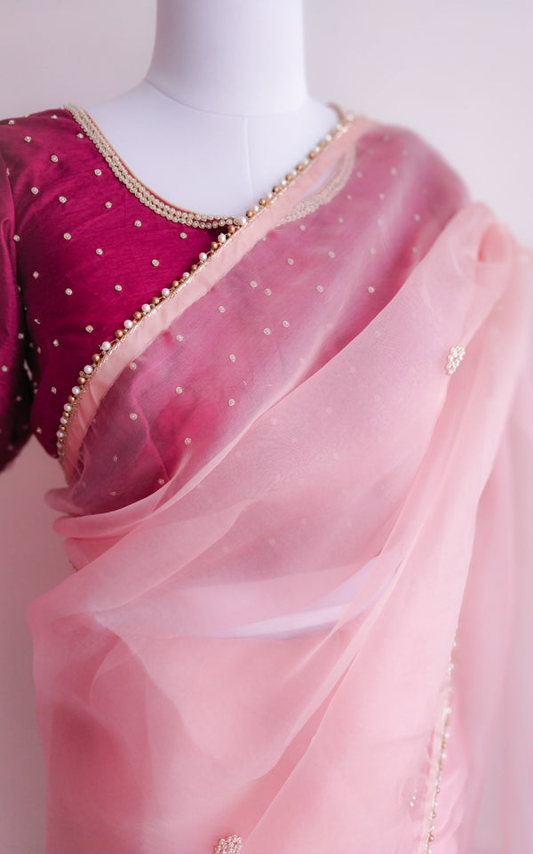 Buy Light Pink Organza Pearl Work Saree Online at LabelKanupriya.