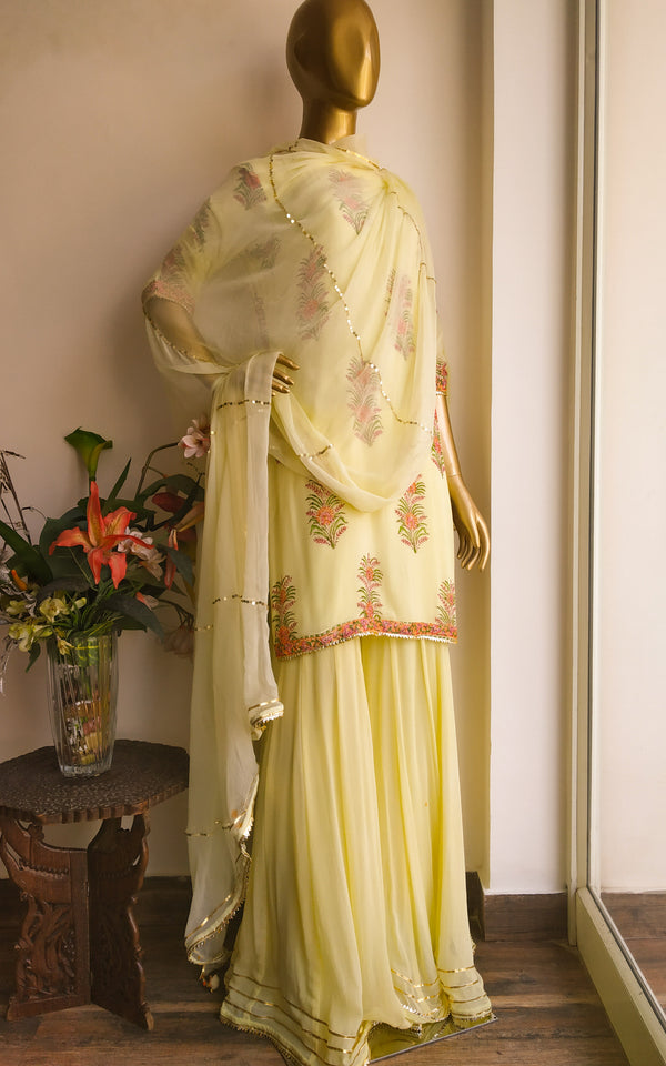 Buy Lime Block Print Sharara Set Online at LabelKanupriya.