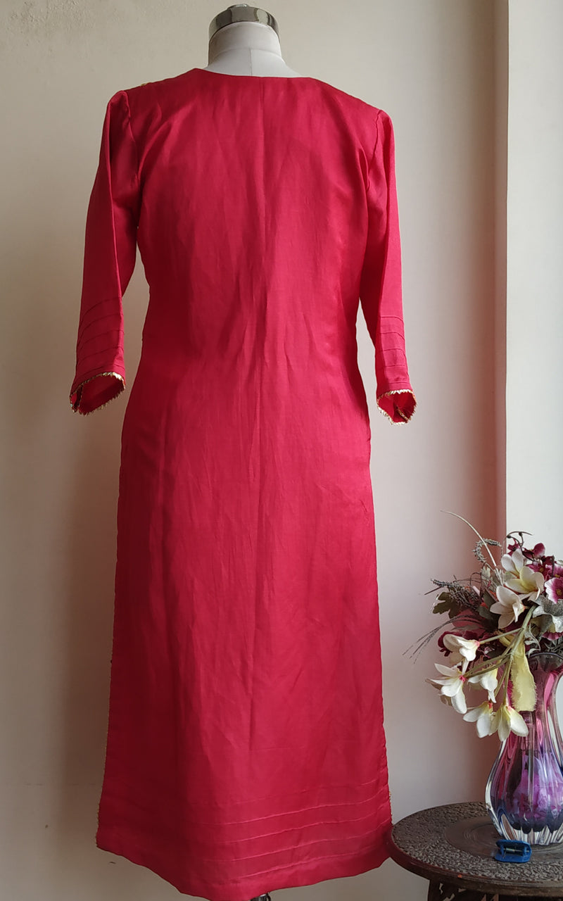 Buy Cherry Red Gota Patti Linen Silk Kurta Online at LabelKanupriya.