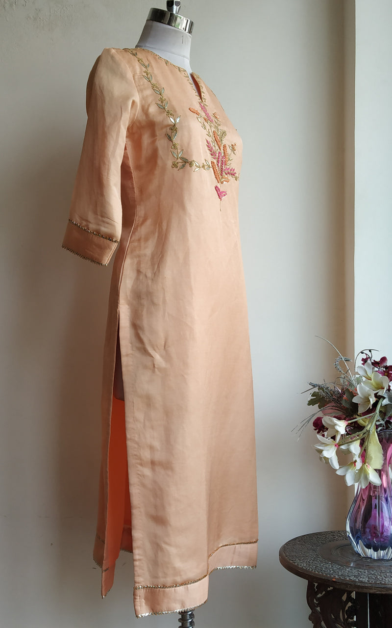 Buy Blush Gota Patti Linen Silk Kurta Online at LabelKanupriya.