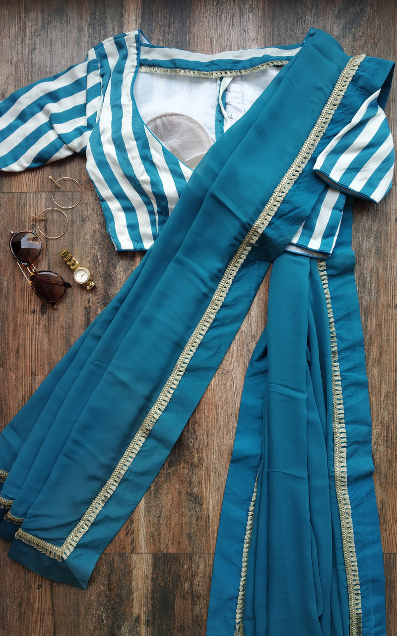 Buy Teal Blue Saree with Striped Blouse Online at LabelKanupriya.