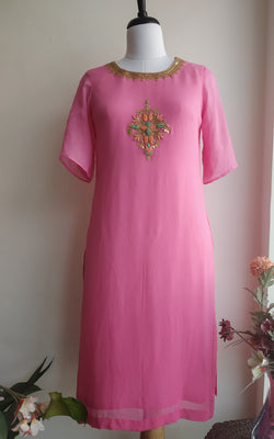 Buy Pink Shaded Embroidered Kurti Online at LabelKanupriya.