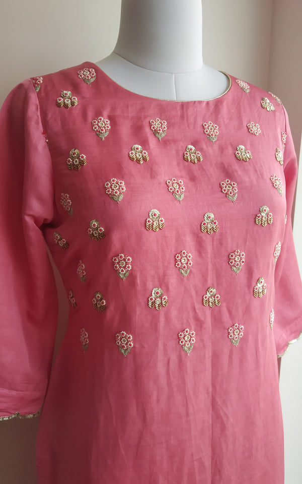 Buy Onion Pink Handwork Linen Silk Kurta Online at LabelKanupriya.