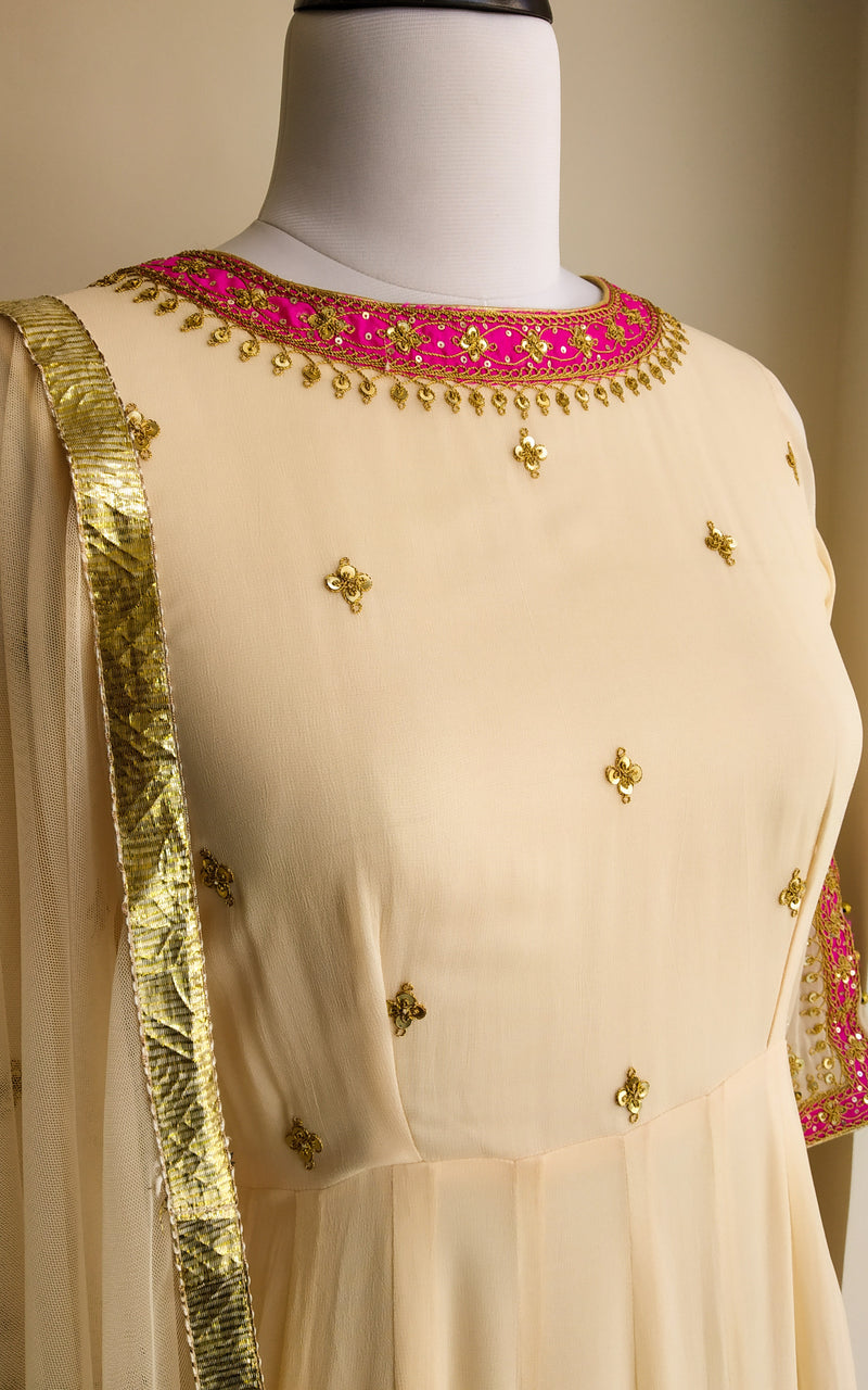 Buy Cream 'Marodi' work Anarkali Online at LabelKanupriya.