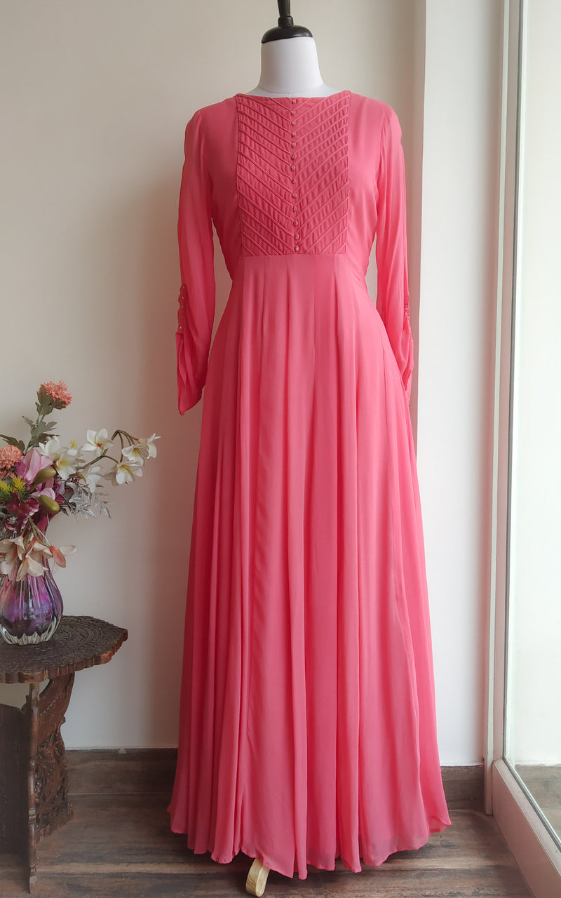 Buy Coral Pink Dori Yoke Long Tunic Online at LabelKanupriya.