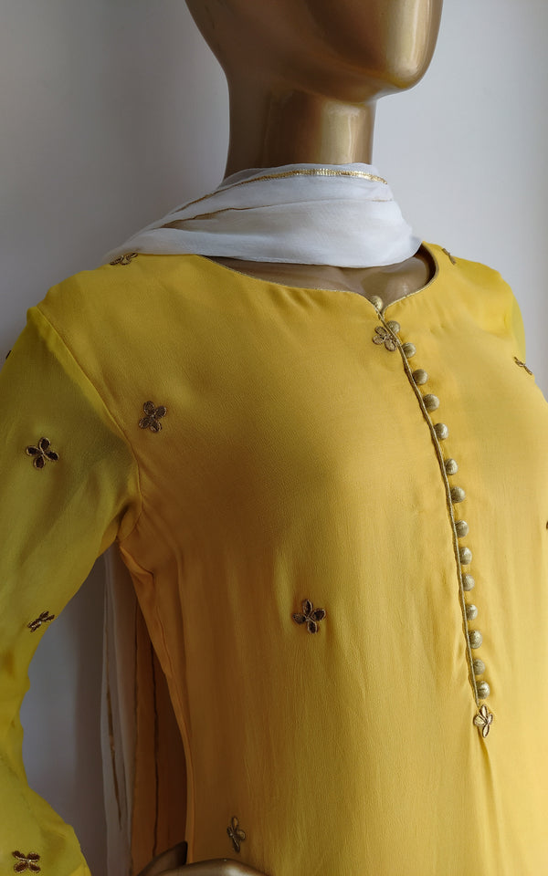 Buy Yellow Gota Patti Kurta and Crinkled Sharara Set Online at LabelKanupriya.