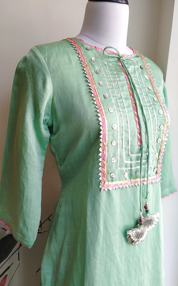 Buy Pastel Green Linen Silk Kurta Online at LabelKanupriya.