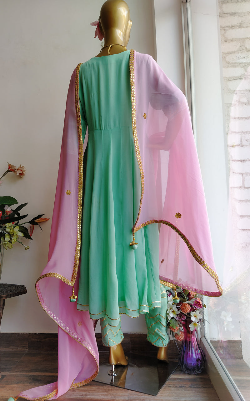 Buy Green Anarkali Pant Set with Pink Gota Patti Dupatta Online at LabelKanupriya.