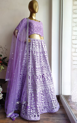 Lilac Foil Work Lehenga with Mirrorwork Blouse and Sequinned Dupatta