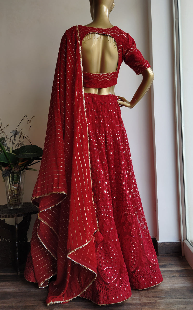 Cherry Red Threadwork Kalidar Lehenga