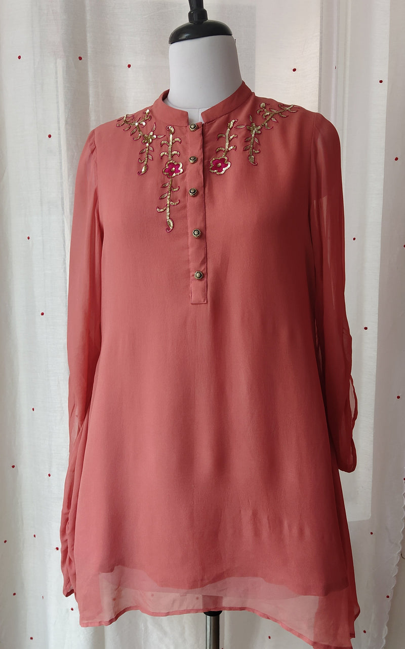 Coral Embroidered Shirt Top