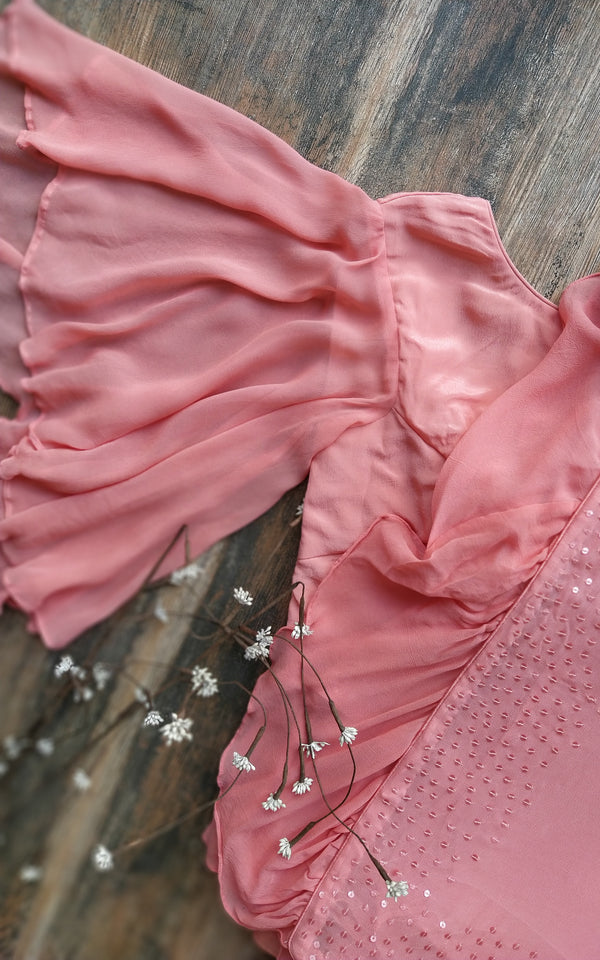 Peach Sequinned Ruffle Saree