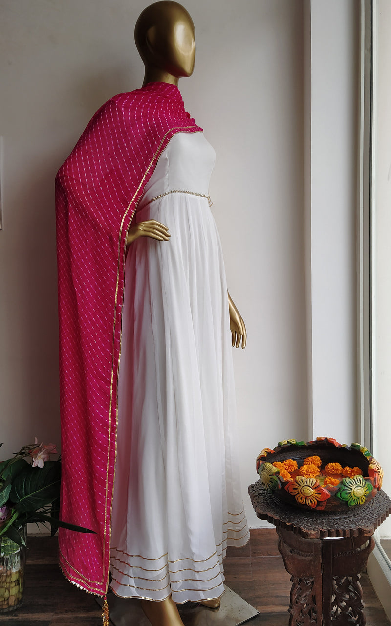 White Gota Work Anarkali with Pink 'Mothra Leheriya' Dupatta