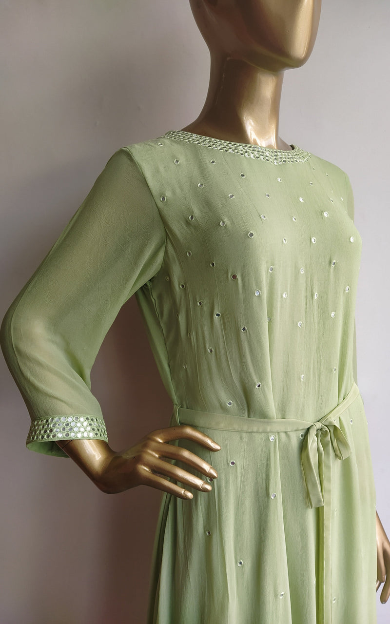 Pastel Green Mirrorwork Long Kurti with Dhoti Pants