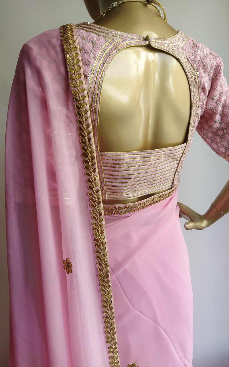 Taffy Pink Gota Patti Saree with Embroidered Blouse