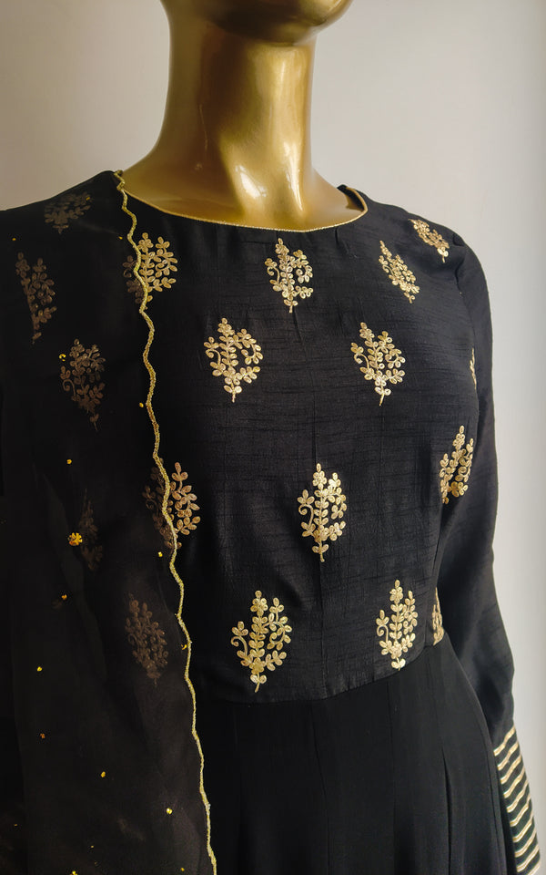 Midnight Black Pittanwork Anarkali with Mukaish-work Organza Dupatta