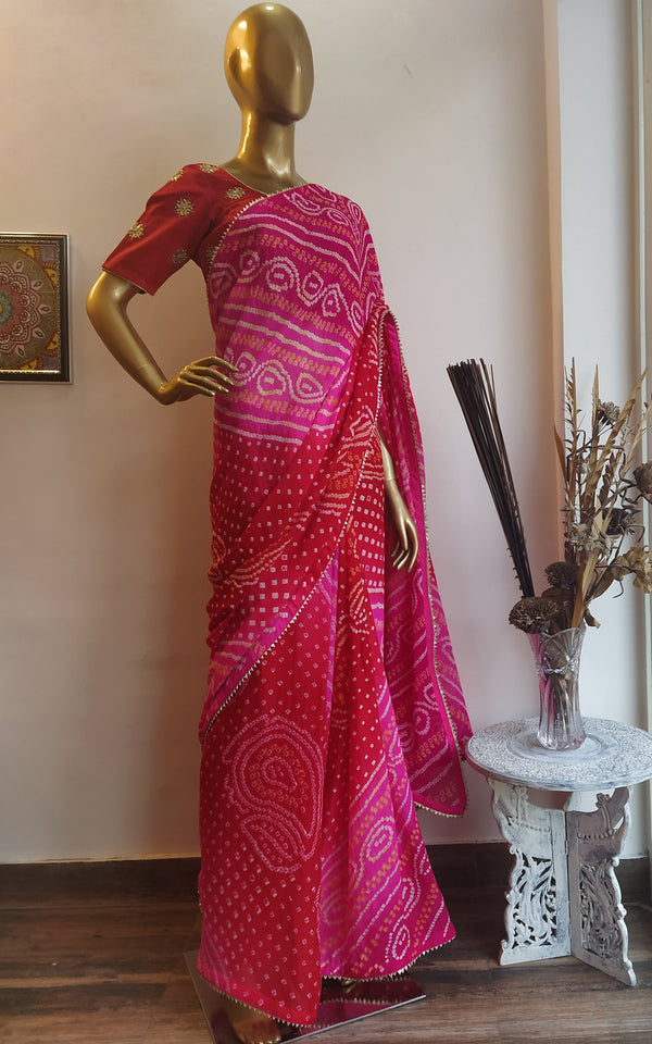 Rani-Red Bandhej Saree with Red Gota Patti Blouse