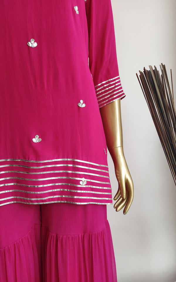Hot Pink Gota Patti Sharara Set
