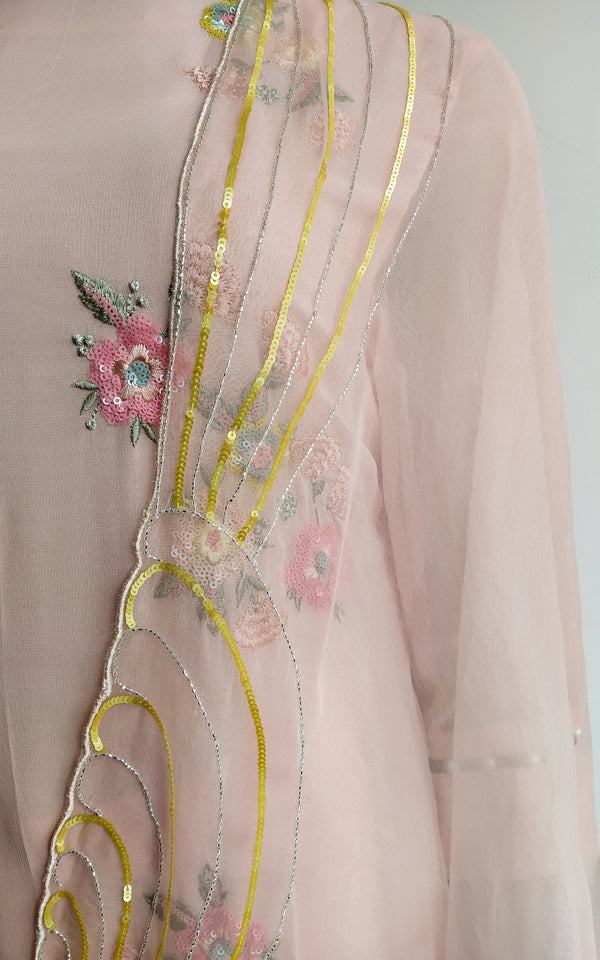 Powder Pink Sequin Work Kurta Set with Organza Dupatta