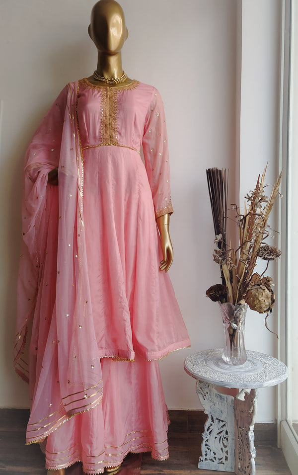 Pink 'Marodi' work Anarkali Sharara Set