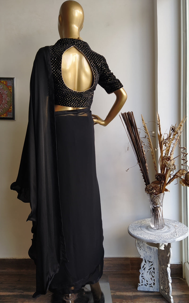 Black Cocktail Saree with Velvet Blouse