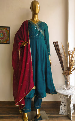Teal Green Sequin-work Anarkali Pant Set with Maroon Kota Silk Dupatta