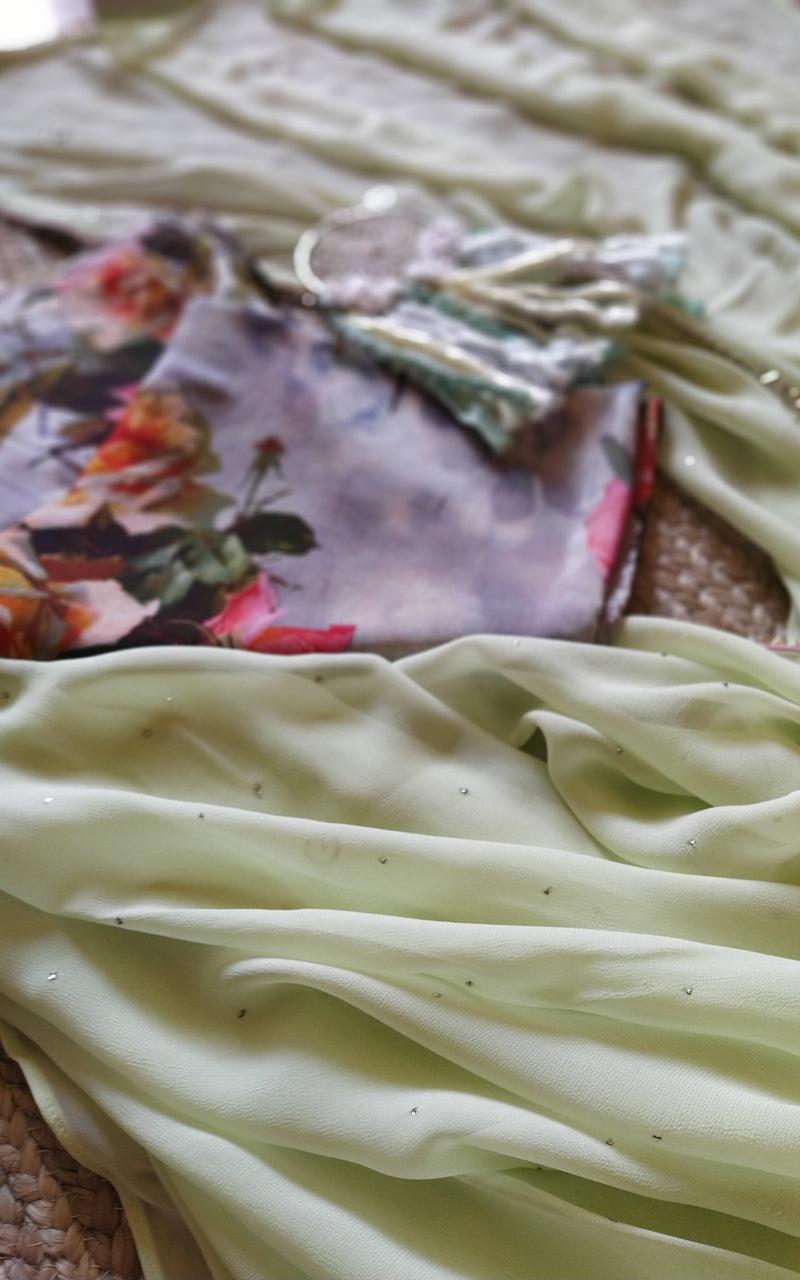 Pastel Green Mukaish Saree with Floral Blouse