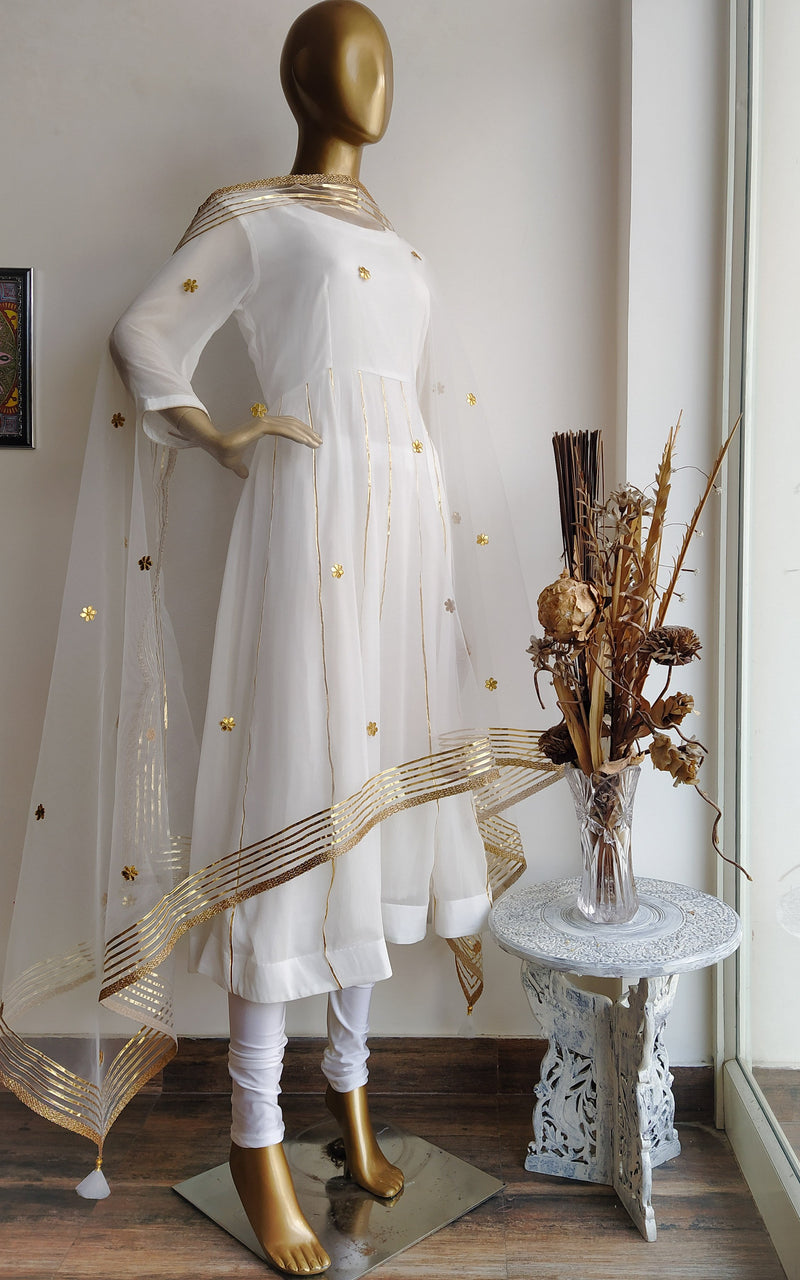 White Gota Patti Anarkali