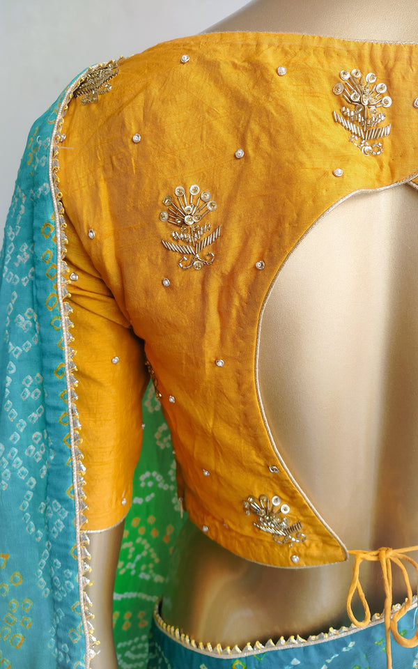 Green Bandhej Saree with Mustard Handwork Blouse