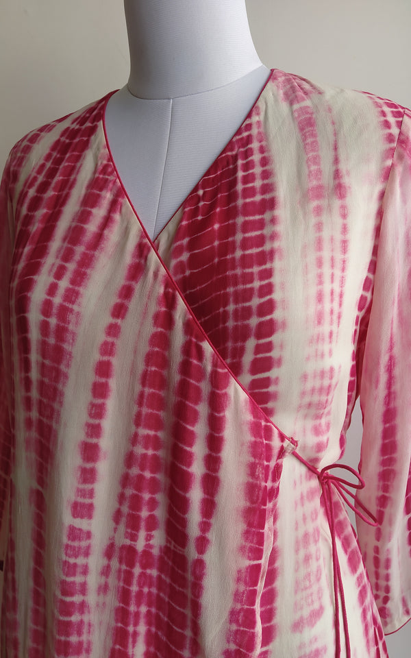 Pink n Cream Shibori Overlap Top