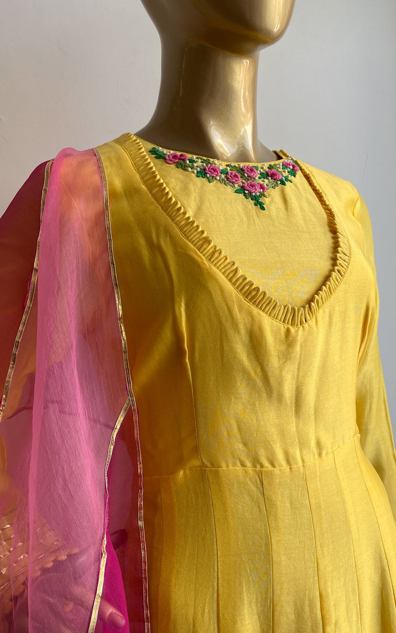 Light Yellow Silk Chanderi Anarkali with Thread Handwork and Organza Dupatta