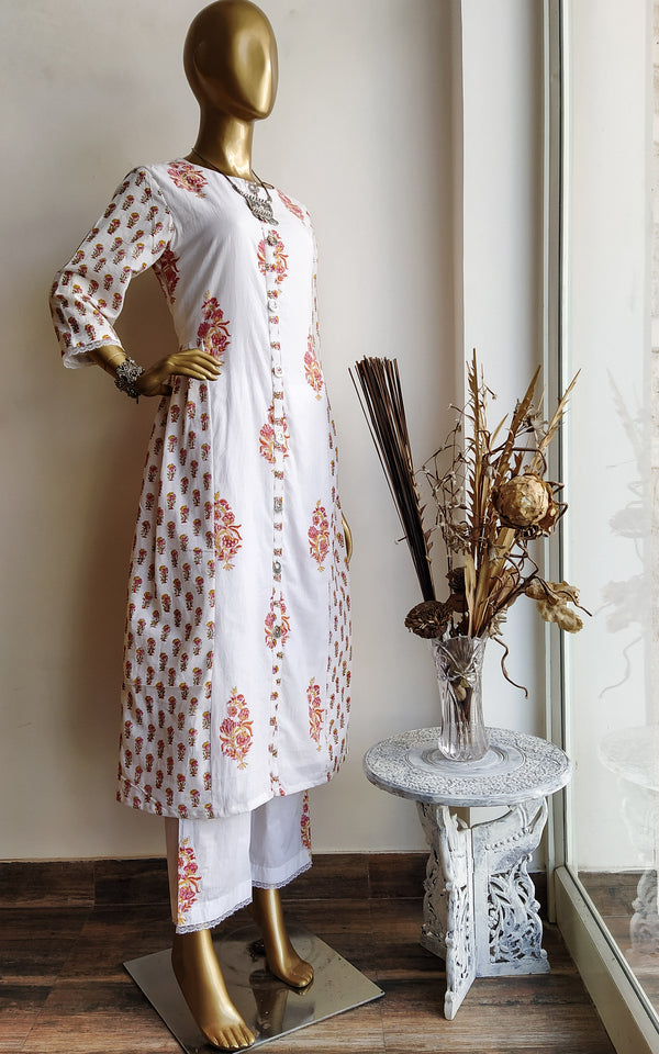 Pink Boota Block print Kurta and Pant Set