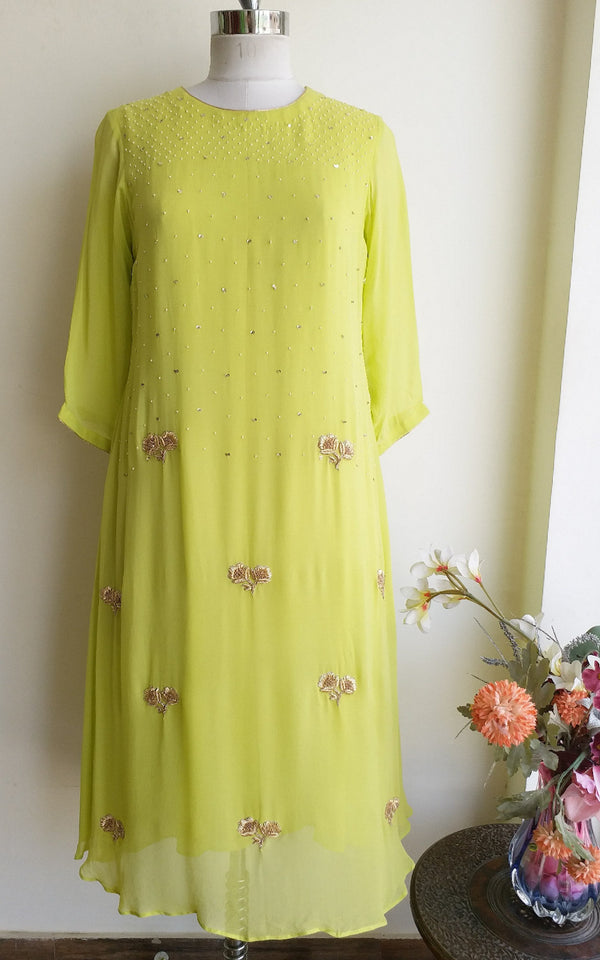 Light Green Embroidered Kurti - LabelKanupriya