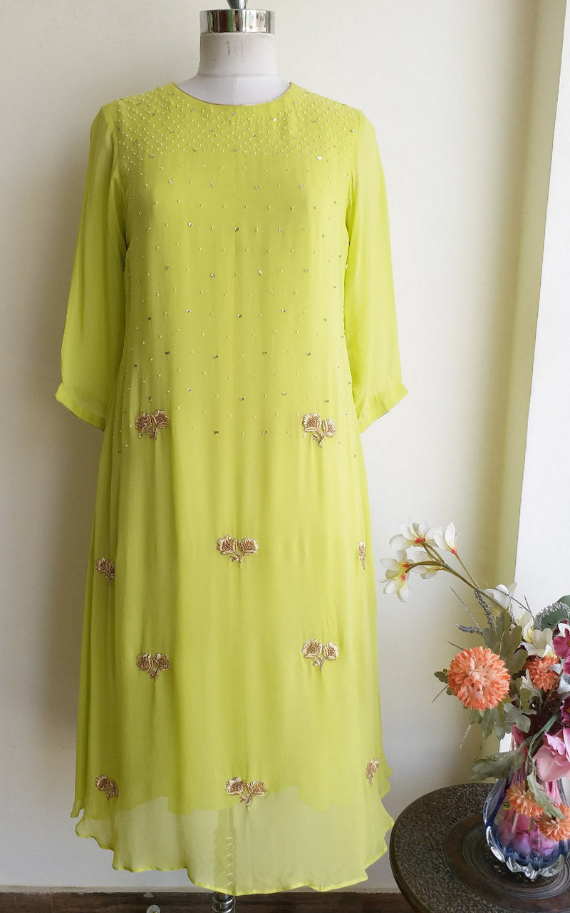 Buy Light Green Embroidered Kurti Online at LabelKanupriya.