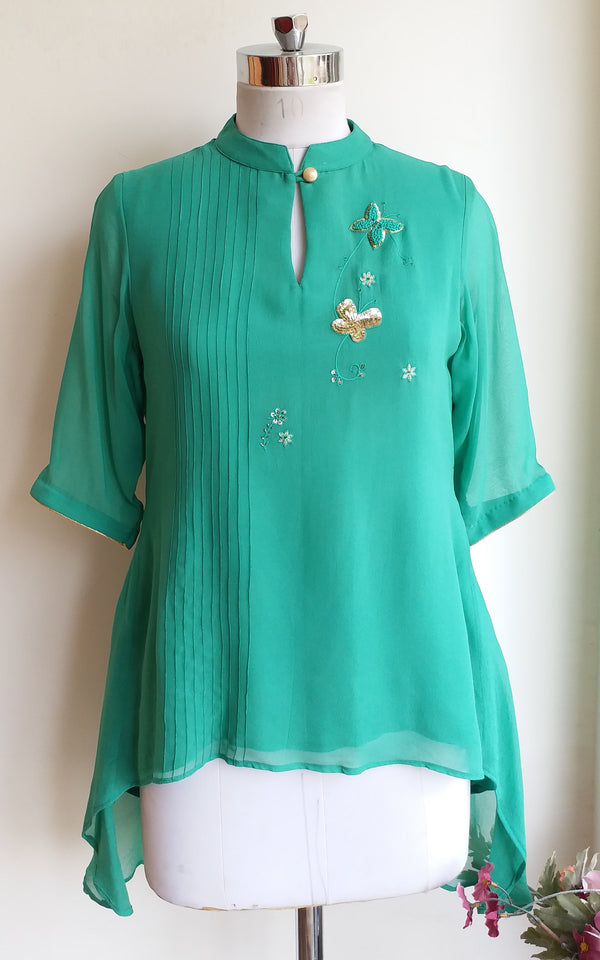 Moss Green Embroidered Top - LabelKanupriya