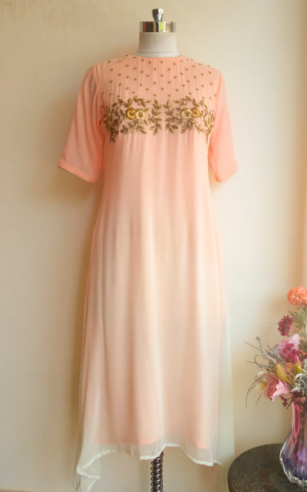 Blush Shaded Handwork Tunic - LabelKanupriya