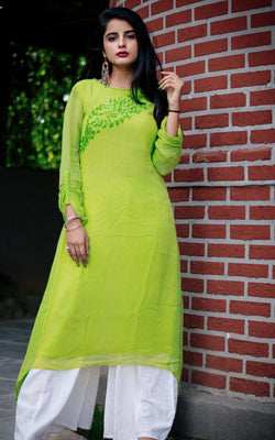 Buy Parrot Green Sequinned Tunic Online at LabelKanupriya.