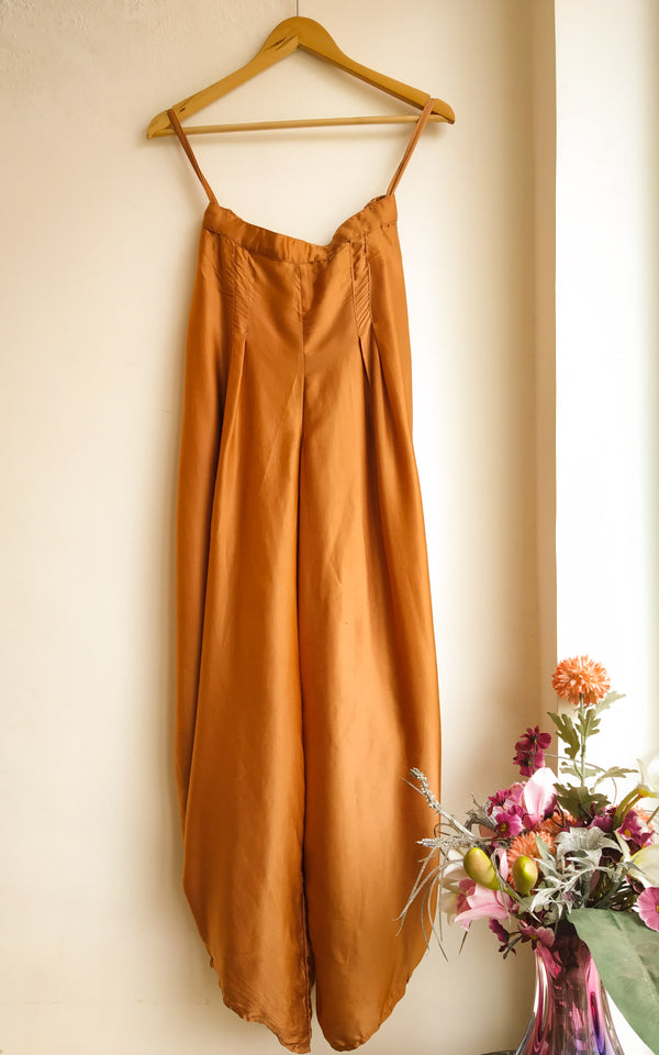 Brown Draped Cowl Pants - LabelKanupriya