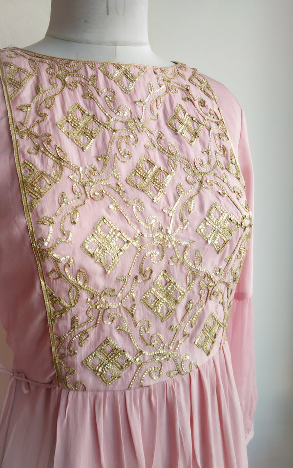 Light Pink Gota Work Tunic - LabelKanupriya