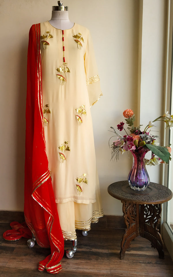 Cream Gota Patti Sharara Set - LabelKanupriya