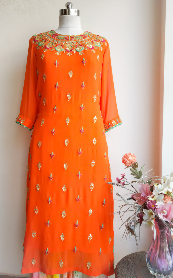 Orange Gota Patti and Threadwork Kurta - LabelKanupriya